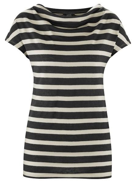 Shirt mit leichtem Wasserfallausschnitt aus Bio Leinen/Baumwolle-Mix in black/sand