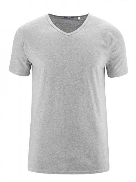 Herren V-Ausschnitt Bio Baumwoll T-Shirt zum Unterziehen im 2er Pack in grau