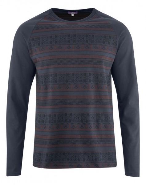 Herren Schlafanzug aus Bio Baumwolle mit modischem Jacquard Muster