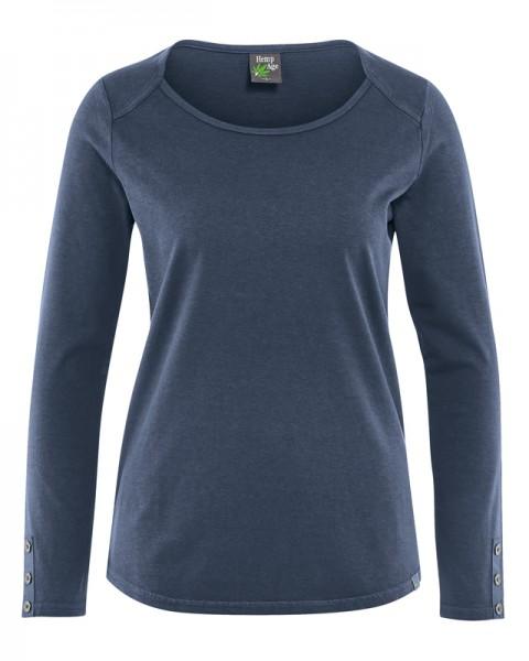 Damen Langarmshirt mit Zierknöpfen Hempage blau - wintersky