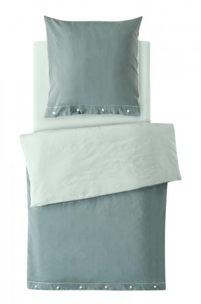 2-teiliges Bettwäscheset (Kissen und Bezug) aus Bio-Baumwoll-Satin Farbe Jade/mint