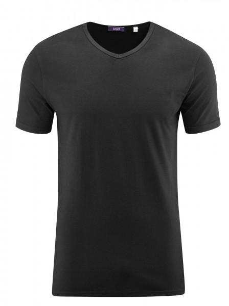 Herren V-Ausschnitt Bio Baumwoll T-Shirt zum Unterziehen im 2er Pack in schwarz