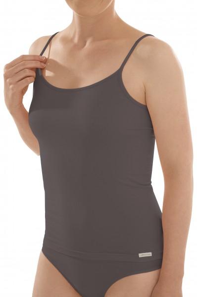 Damen Bio Spagehttiträger Unterhemd in anthrazit
