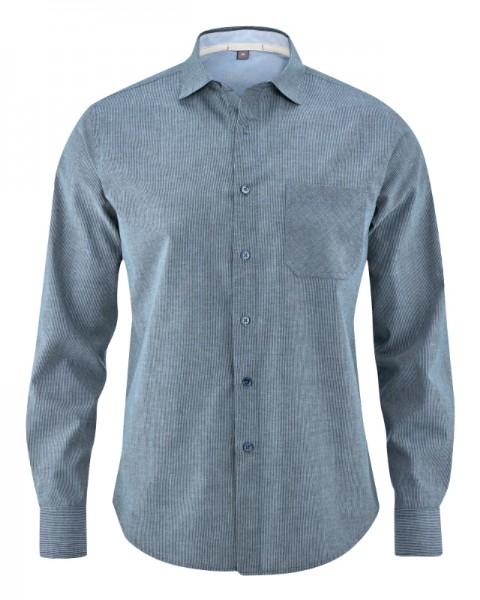 HempAge Faires Bio Herrenhemd aus Biobaumwolle und Hanf gestreift blau