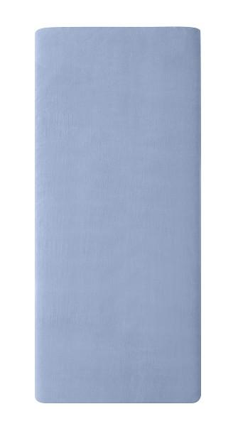 Spannbettlaken aus Biobaumwoll-Satin 100x200 oder 160x200, Farbe: Blau