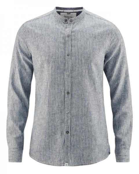 Slim Fit Stehkragen Freizeithemd aus Hanf und Biobaumwolle