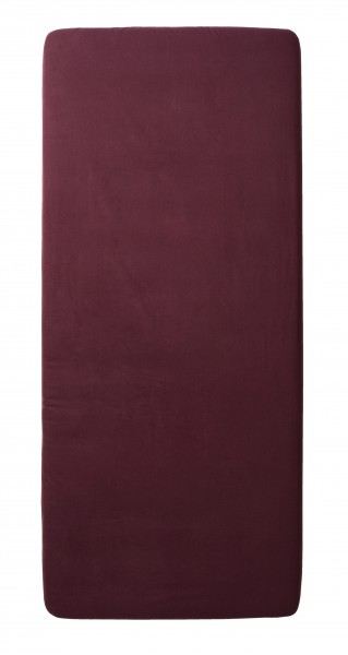 Spannbettlaken aus Bio Baumwolle - Farbe weinrot - 100cm x 200cm