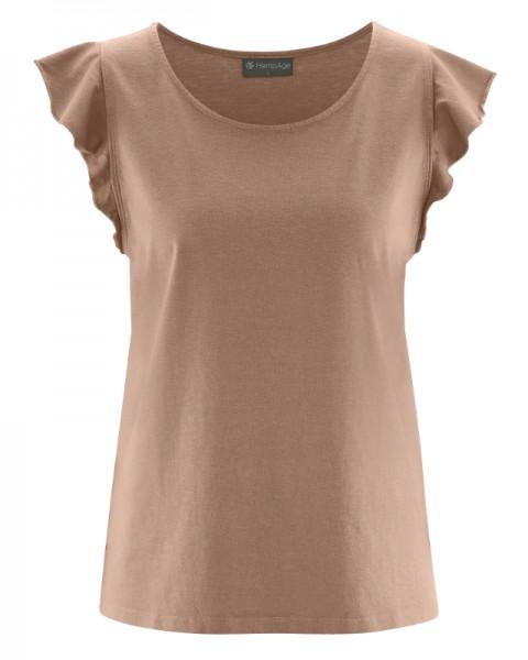 Verspieltes Damen Shirt mit Rüschenärmeln aus Biobaumwolle & Hanf