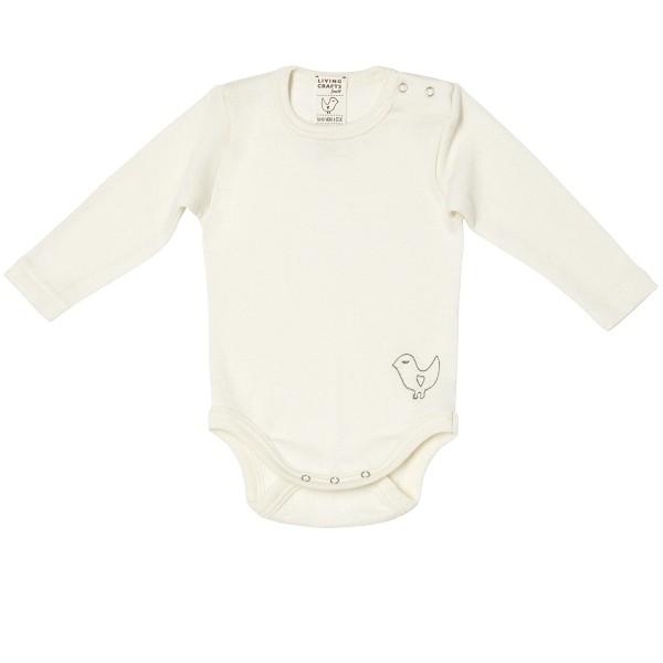 Feiner Baby Langarmbody aus Wolle/Seide mit Schulterknöpfchen