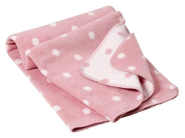 Baby Decke aus weichem Biobaumwollfleece - Motiv Punkte - 75x100cm