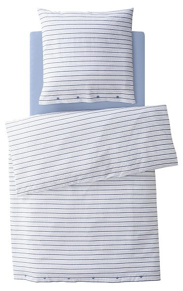 2-teiliges Bettwäscheset (Kissen und Bezug) aus Bio Seersucker gestreift