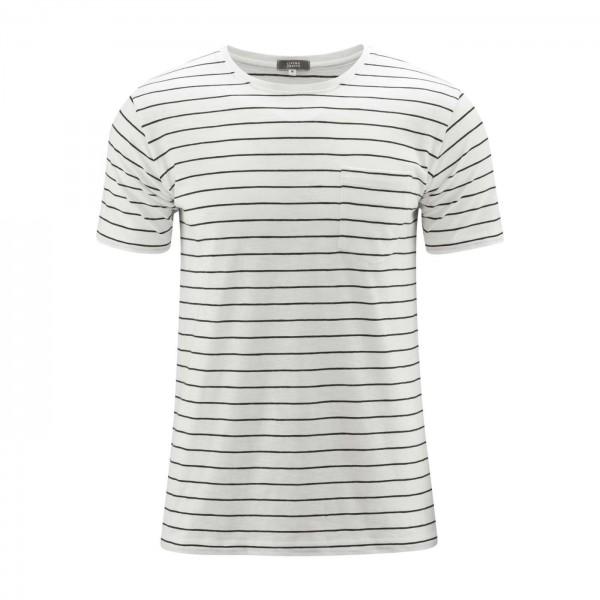 Bio Shirt Herren gestreift weiß