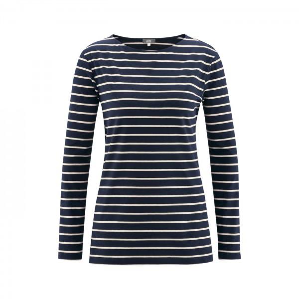 Langarm Damen Shirt blau aus Modal & Soja