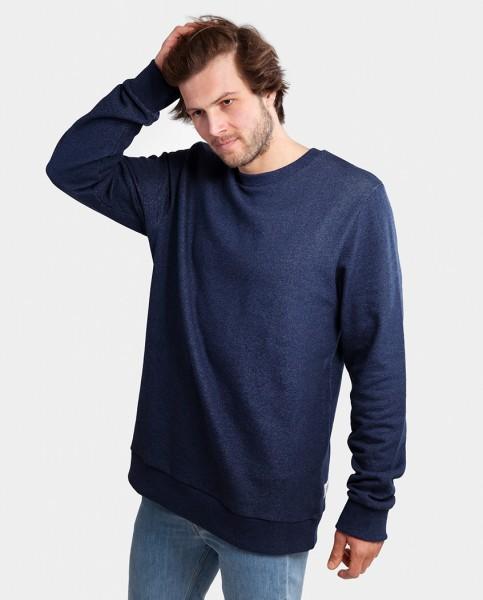 Herren Sweatshirt aus Bio Baumwolle in dunkel blau meliert