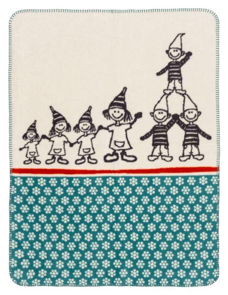 Baby Decke aus weichem Biobaumwollfleece - Motiv Zwergenbande - 75x100cm