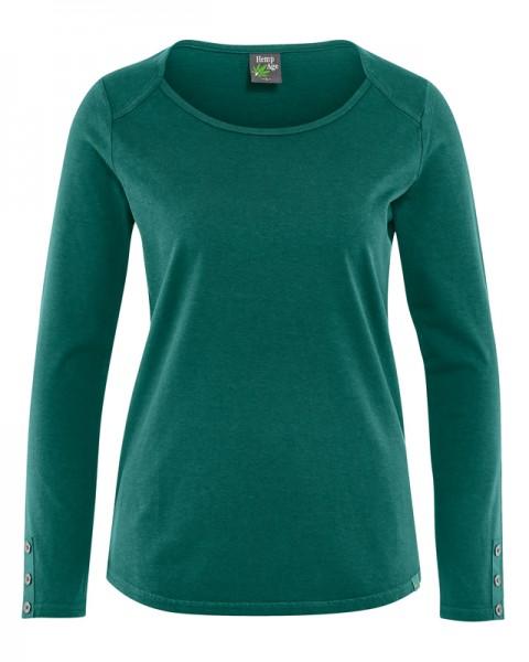 Damen Langarmshirt mit Zierknöpfen Hempage grün - spruce