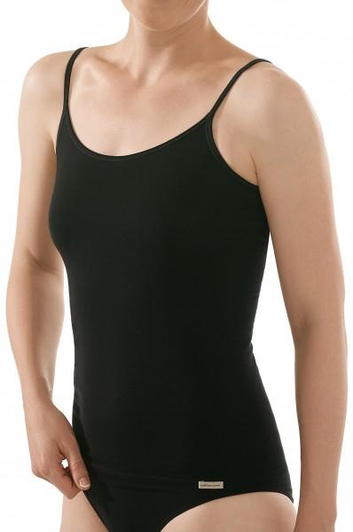 Damen Bio Spagehttiträger Unterhemd in schwarz