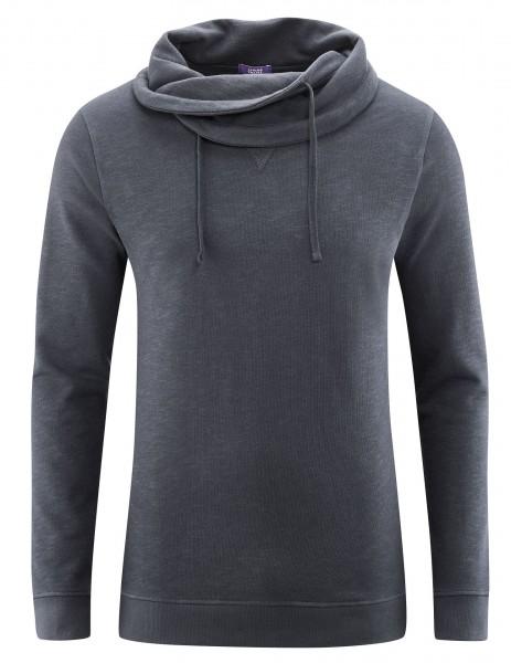 Relax Sweatshirt mit legerem Schalkragen in deep sea Blau