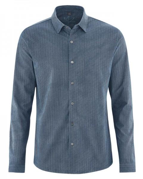 feingemustertes Herren Office Hemd blau aus Hanf und Biobaumwolle