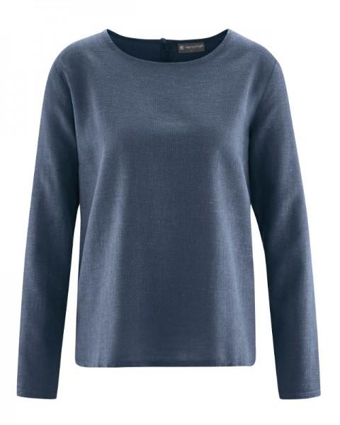 Gewebte Damen Bluse aus Hanf und Biobaumwolle von Hempage wintersky