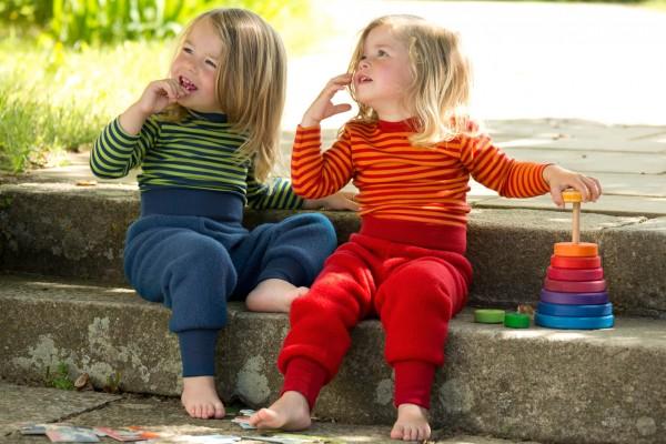 Baby Streifenshirt aus Bio-Merinowolle und Seide