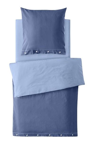 2-teiliges Bettwäscheset (Kissen und Bezug) aus Bio-Baumwoll-Satin Farbe blau