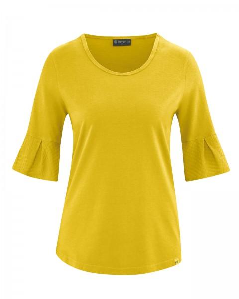 HempAge Damen Jersey Halbarm Shirt mit raffinierten Ärmeln