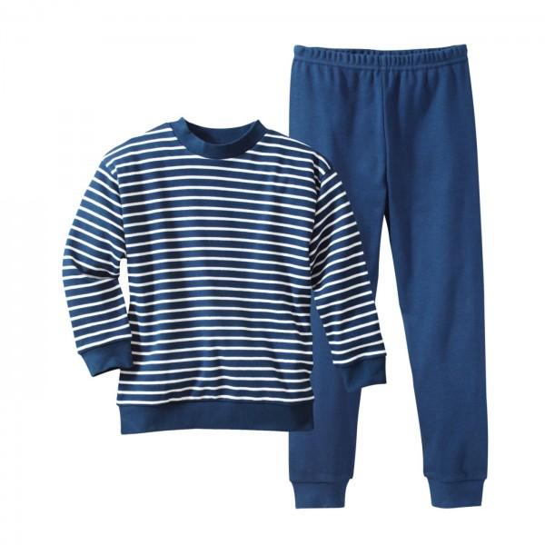 Living Crafts Kinder Schlafanzug blau weiß gestreift