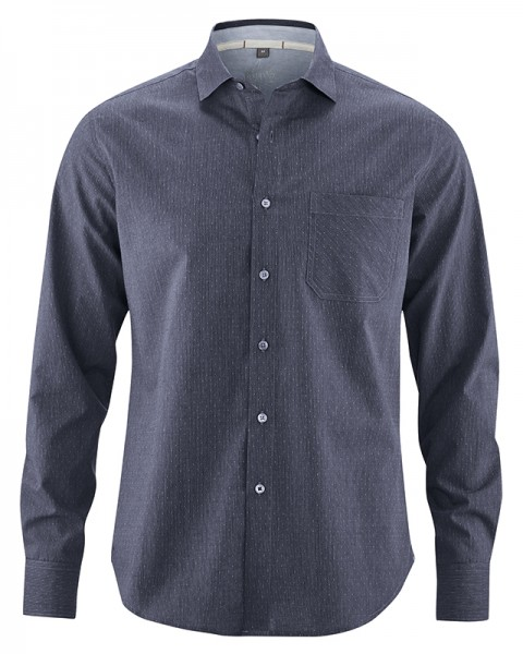 HempAge Herren Hemd aus Bio Baumwolle und Hanf - farbe wintersky
