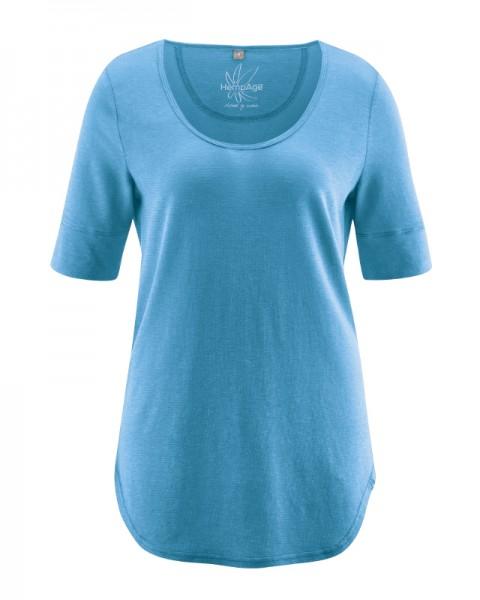 HempAge 3/4 Arm Damen Rundhals Shirt aus Bio-Baumwolle und Hanf - normal fit