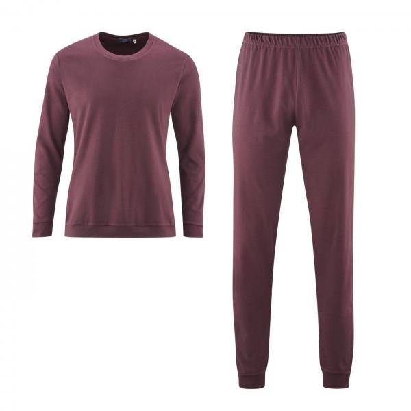 Living Crafts Herren Schlafanzug burgund