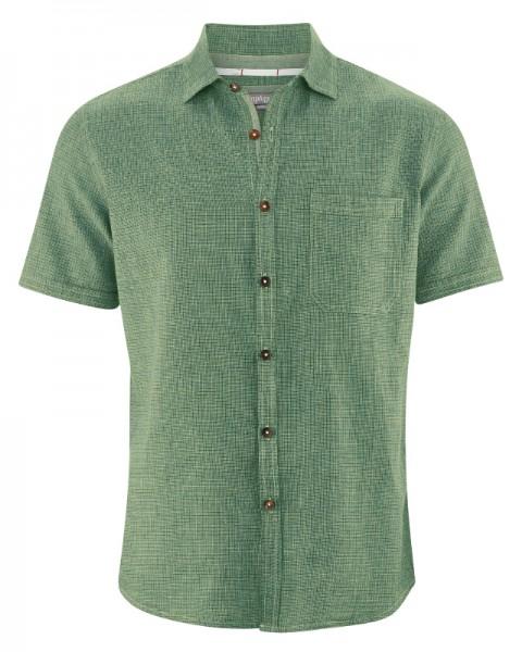 Kariertes Kurzarmhemd aus Hanf und Biobaumwolle