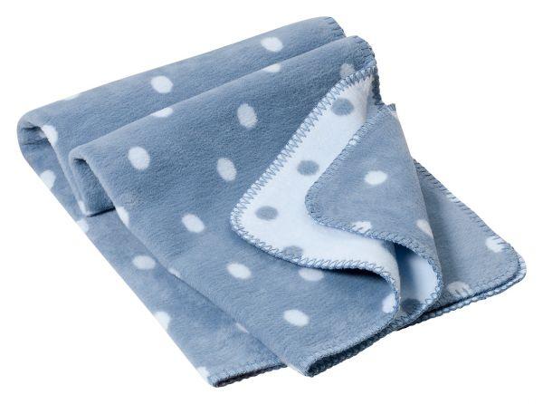 Baby Decke aus Bio Baumwolle - Bio Wohndecke - Punkte - hellblau