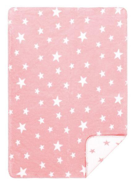 Babydekcke mit Sternen rosa aus Bio Baumwolle - Wohndecke Bio Baumwolle