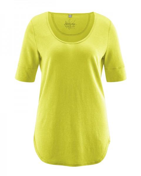 3/4 Arm Damen Rundhals Shirt aus Biobaumwolle und Hanf - normal fit